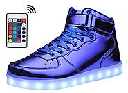 MOHEM ShinyNight High Top LED Shoes Light Up USB Charging Flashing Sneakers(1687003ShiningBlue40)
