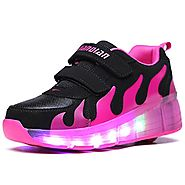 Uforme Kids Adults LED Shoes Light Up Wheels Roller Skates Flashing Fashion Sneakers for Unisex (13 M US =CN31, Black...