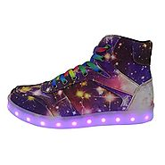 DAYOUT Womens Fashion Led Lights Up Sneakers Men Luminous Shoes High Top Lovers Canvas Shoe (Womens US 8 / EU 39, Pur...