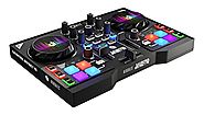 HERCULES INSTINCT P8 ultra-mobile USB DJ Controller with Audio Outputs for use with your Headphones and your Speakers