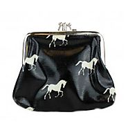 Black Oil Cloth Horse Purse