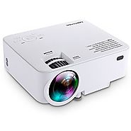 DBPOWER T20 1500 Lumens LCD Mini Projector, Multimedia Home Theater Video Projector Support 1080P HDMI USB SD Card VG...
