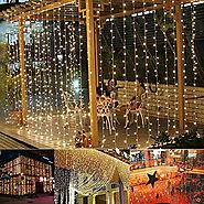 Ucharge Window Curtain Icicle Lights,29V,306 LED with 8 Modes,Warm White Led Curtain Lights, 9.8ft x 9.8ft,UL Listed