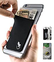 Gecko Adhesive Phone Wallet & RFID Blocking Sleeve, a Stick-On Stretchy Lycra Card holder Universally fits most Cell ...