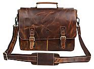 Rustic Town 15 Inch Leather Messenger Bag Cross Body Satchel Bag Gift Men Women Laptop Bag (Brown)