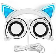 Cat Ear Headphones,SNOW WI Flashing Glowing Cosplay Fancy Cat Headphones Foldable Over-Ear Gaming Headsets Earphone w...