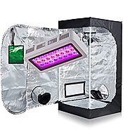 "TopoGrow LED 300W Grow Light kit W/24""x24""x48"" 600D Grow Tent With Green Window COMBO Plant Germination Kits Indoor H..."