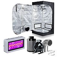 "Hongruilite 300w/600w LED Grow Light+Multi-sized Grow Tent+4"" Inline Fan Carbon Air Filter Ducting Combo for Hydropon..."