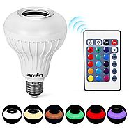 LightMe Intelligent E27 LED White + RGB Light Ball Bulb Colorful Lamp Smart Music Audio Bluetooth 3.0 Speaker with Re...