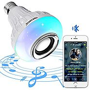 Texsens LED Light Bulb with Integrated Bluetooth Speaker, 6W E27 RGB Changing Lamp Wireless Stereo Audio with 24 Keys...