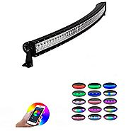 Led Light Bar, Nicoko 52 inch 300W Curved RGB Multicolor Chasing Off-road Light Bar Bluetooth App Controlled Combo Be...