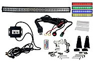 "Curved 50"" OZ-USA RGB Series Double Row Dimmable LED Light bar Cross Style DRL & RGB Bluetooth Functions Combo Beam A..."