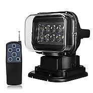 Suparee 1pcs Black 12v 24v 50w 360 Cree LED Rotating Remote Control Work Light Spot for SUV Boat Home Security Farm F...