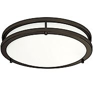 LB72121 12-Inch LED Flush Mount Ceiling Light, Oil Rubbed Bronze, 4000K Cool White, 1050 Lumens, Dimmable