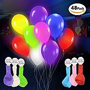 DG Sports Premium Party Lights – LED Light Up Balloons – 48 Pack - Mixed Colors Ideal for Parties, Birthdays and Wedd...