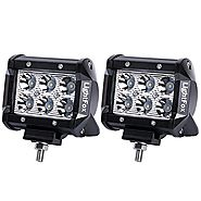 Lightfox 2Pcs 4Inch 18W Spot LED Fog Light CREE Cube Light Bar LED Pods Lights Waterproof Jeep Driving Work Lamp for ...