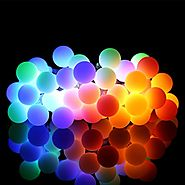 ProGreen Outdoor String Lights, 14.8ft 40 LED Waterproof Ball Lights, 8 Lighting Modes Dimmable Remote Ball, Battery ...