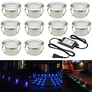 "FVTLED Low Voltage 10pcs Multi-color RGB LED Deck Lights Kit 1-3/4"" Stainless Steel Recessed Wood Outdoor Yard Garden..."