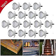 Riiai 6W φ23mm Recessed LED Deck Lighting Kits, Outdoor Garden Path Porch Stairs Landscape Light 12V Low Voltage Wate...