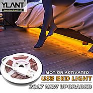 YLANT Smart Motion Activated LED Bed Light with PIR Switch 5Ft IP65 Flexible 5V USB Safety 45 LEDs Strip Night Light ...