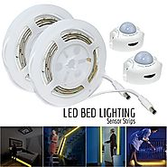 ESVNE LED Digital Bed-lighting Motion Sensor Light Strips Kit with UL Power Supply ,Activated Automatic Sensor LED Ni...