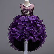 High Low Style Party Dress With Glittery Ballerina - Baby Couture India