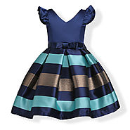 Shades Of Peacock Kids Party Frock by BabyCouture