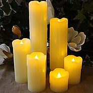 "SALE!! LED Lytes TIMER FLAMELESS CANDLES, SLIM Set of 6, 2"" WIDE and 2""- 9"" TALL, Ivory Color Wax and Flickering Ambe..."