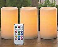 Outdoor & Indoor Flameless Candles With Timer and Remote - Real Looking Flickering LED Candles Battery Operated Set o...