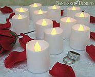 LED Lighted Flickering Flameless Candles - Banberry Designs - Box of 12 - Wedding Decorations - White Faux Candles - ...