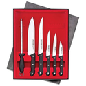 Maxam 6pc Cutlery Set Dishwasher Safe Polypropylene Handles Triple Rivet Design Sharpening Steel