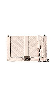 Rebecca Minkoff Women's Chevron Quilted Slim Love Cross Body Bag, Nude, One Size