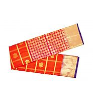 Orange Kanchipuram Designer Silk Saree