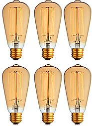 6-Pack Vintage Edison Filament Light Bulb - ST64 - Dimmable - by Newhouse Lighting, Medium (E26) Standard Base E27 - ...