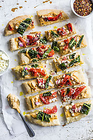 Roasted Red Pepper Hummus Flatbread