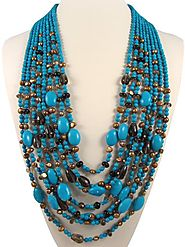 Stunning 8 Strands Of Turquoise Necklace | Semi Precious Stone Necklaces