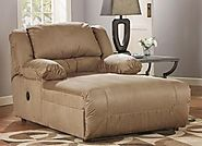 Ashley Furniture Signature Design – Hogan Contemporary Press Back Chaise – Tan