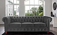 » Divano Roma Furniture Velvet Scroll Arm Tufted Button Chesterfield Style Sofa, Grey