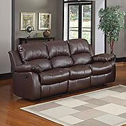 » Bonded Leather Double Recliner Sofa Living Room Reclining Couch (Brown)