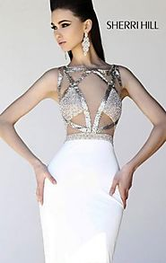 2014 Ivory Beaded Open Back Fitted Homecoming Dress by Sherri Hill 11035 [Sherri Hill 11035] - $182.00 : 2016 Prom Dr...