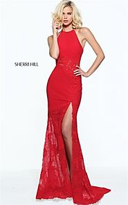 2017 Sherri Hill 51019 Red Lace Appliqued Halter High Slit Evening Gown [Sherri Hill 51019 Red] - $192.00 : 2016 Prom...