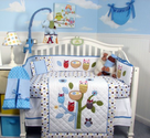 SoHo Blue Owl Tree Baby Crib Nursery Bedding Set 13 pcs included Diaper Bag with Changing Pad & Bottle Case