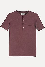 Buy Red Solid Heather Henley T-Shirt for Men at Zobello