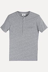 Buy Solid Sports Grey Henley T-Shirt for Men at Zobello
