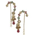 Smoke Golden ethnic loop hook earrings with red and green stones. SMER537