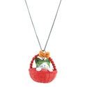 ANGEL GLITTER DUMPY TINY KITTEN IN RED BASKET PENDANT WITH CHAIN
