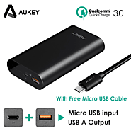 AUKEY Quick Charge 3.0 Power Bank 10050mAh Battery Two Way Quick Charging