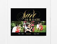 Black and Gold Save The Date Magnet – cardcandy