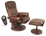 Relaxzen 60-425111 Leisure Massage Reclining Chair with Heat In Comfort Soft Upholstery, Brown