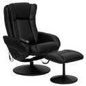 T & D Enterprises BT-7672-MASSAGE-BK-GG Massaging Black Leather Recliner and Ottoman with Leather Wrapped Base